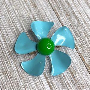 Vintage Small Enamel Flower Power Pinwheel Pin